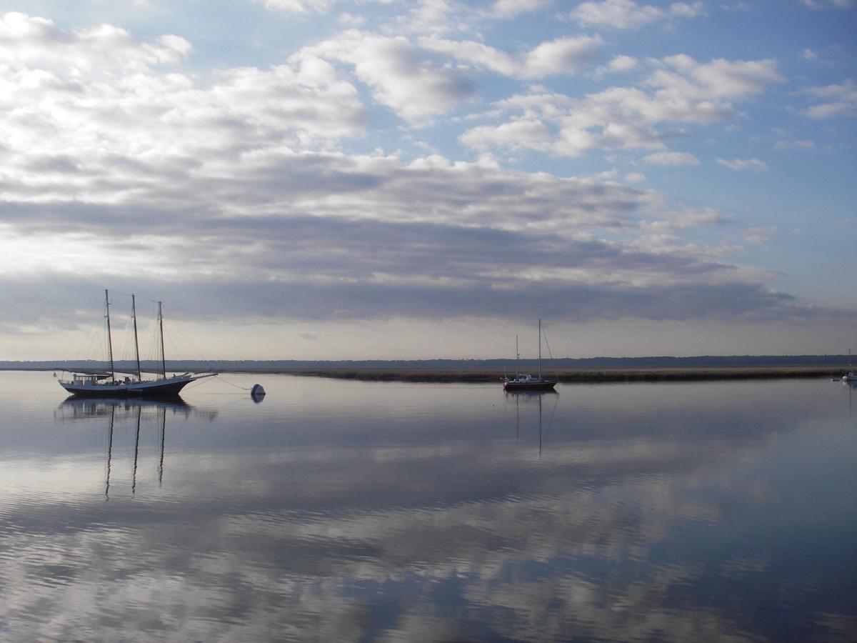 Ships at dawn, anchored near Cumberland Island.