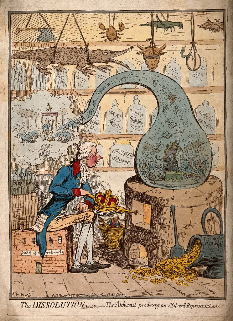 V0011302 An alchemist using a crown-shaped bellows to blow the flames Credit: Wellcome Library, London. Wellcome Images images@wellcome.ac.uk http://wellcomeimages.org An alchemist using a crown-shaped bellows to blow the flames of a furnace and heat a glass vessel in which the House of Commons is distilled; satirizing the dissolution of parliament by Pitt. Coloured etching by J. Gillray, 1796. 1796 By: James GillrayPublished: 21 May 1796 Copyrighted work available under Creative Commons Attribution only licence CC BY 4.0 http://creativecommons.org/licenses/by/4.0/